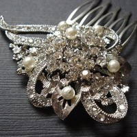 Olivia with Swarovski Pearl Vintage Style Swarovski Crystal Art Deco Hair Comb by Romantic Brides