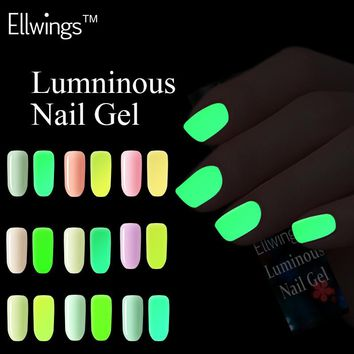Ellwings 18 colors series of Fluorescent Nail Varnish Luminous Gel Polish Colorful Neon Glow In the Dark Nail Gel Lacquer