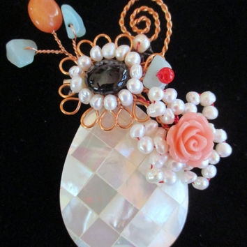 Vintage pin brooch jewelry, mother of pearl,  small pearls and crystals wired to pin, unique gift under 25, woman wife mothe