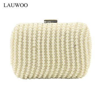LAUWOO Women Evening bags Women Diamond Rhinestone Clutch Ivory pearl Clutch bag Wedding Purse Party evening bags Banquet