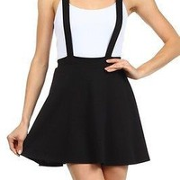 Sexy Solid Colors A-Line Flared Bottom Suspender Mini Short Flirty Skater Skirt
