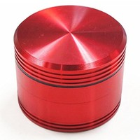 CNC Metal Herb Grinder 4 Piece and Tobacco Grinder with Pollen Catch&free Scrapper 2.0 Inch (red)