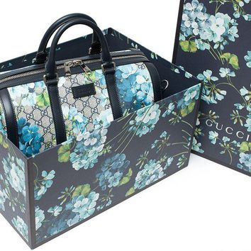 LMFIX5 Gucci Blue Small gg Blooms Blossom Duffle Bag Canvas Boston Bag Authentic New