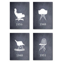 Chair Art - Eames Chairs - Wall Art Quad 5 x 7 or larger prints Midcentury Modern - Wire Chair - Lounge Chair - Room Decor