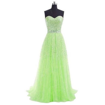 HOT SALE STRAPLESS A-LINE LONG FORMAL EVENING DRESSES WITH SPARKING SEQUINED VESTIDOS LONGO SEXY PARTY GOWN CHEAP IN STOCK