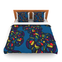 "Sonal Nathwani ""Mushroom Flower"" Navy Pattern Lightweight Duvet Cover"