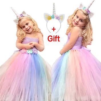 2018 Summer New Flower Girl Dresses Girls Unicorn Rainbow Dress Strapless Ball Gown For Birthday Party Wedding With Headgear