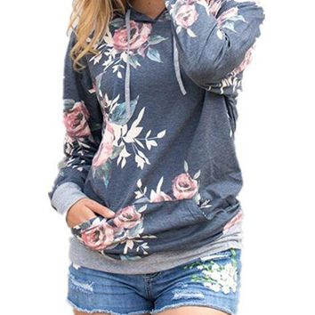 Gray Hooded Floral Printed Sweater