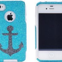 iPhone 4 / 4S Otterbox - Glitter Custom Frost/Smoke Nautical Anchor - Otterbox iPhone 4 / 4S