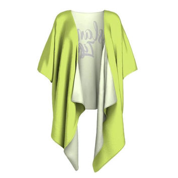 "Draped Kimono Robe - Neon Green with ""Island Life"" in Black Lettering"