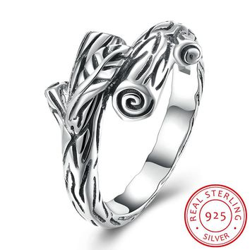 925 Sterling Silver tree bark Ring
