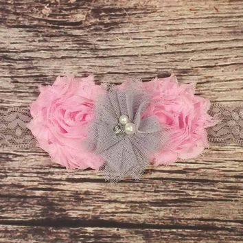 Pink and Gray Baby Headband / Grey Headband / Pink Headband / Lace Headband / Baby Girl Headband / Baby Bows / Girls Hair Bows / Beautiful