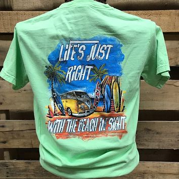 Southern Chics Life is Just Right with the Beach in Sight Comfort Colors Girlie Bright T Shirt