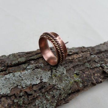 Spinner Ring, Copper Spinner Ring, Brass Spinner Ring, Copper and Brass Spinner Ring