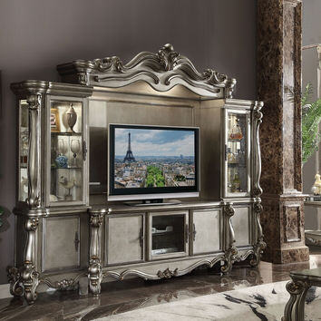 Acme 91820-24 4 pc versailles antique platinum finish wood entertainment center wall unit