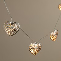 Silver Heart LED 10-Bulb Battery Operated String Lights