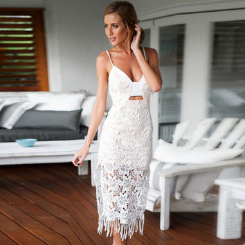 Spaghetti Strap Floral Lace Cutout Fringed Midi Slit Bodycon Dress