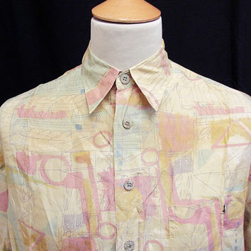 Retro 90's Workings Out Crazy Pattern Shirt M