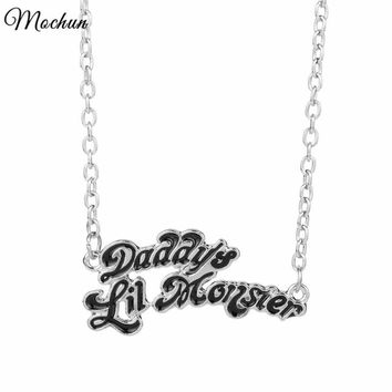 Cool Suicide Squad Necklace Harley Quinn Joker Daddy's Lil Monster Pendants Alloy Necklace Women Fans Enamel Gift Movie Jewelry