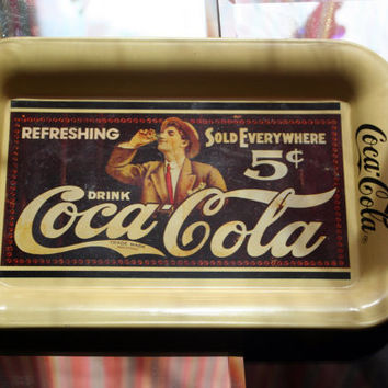 1989 Collectible 5 Cent Coca-Cola Vintage Coke Tray (1907 Exclusive Trolley Advertisement)