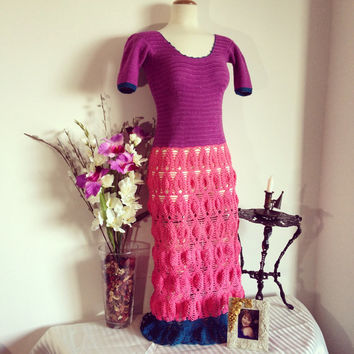 RESERVED for Kathy - Sugarplum Fairy Princess Women's Purple & Pink Handmade Crochet Lace Statement Gown - Bridesmaid/Prom/Wedding Fashion G
