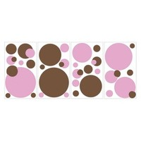Roommates Pink/Brown Dots Wall Decals