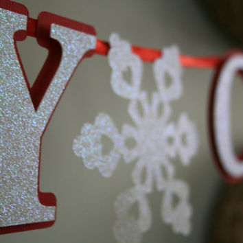 Merry Christmas Banner Be Merry Banner Snowflake Banner Happy Holidays Christmas Decorations Red and White Sparkle Letter Cut Out Banner