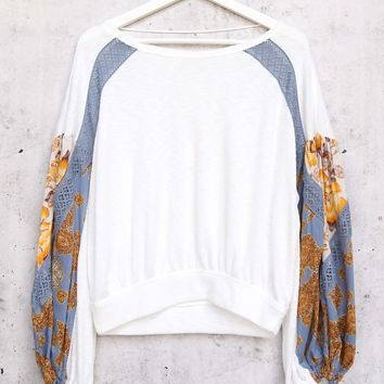 Free People Casual Clash Thermal Top With Contrasting Billowed Sleeves - Ivory