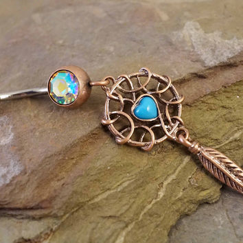 Rose Gold Turquoise Dream Catcher Belly Button Ring