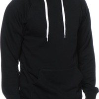 Black Pullover Hoodie With White Strings | Fashion Ql