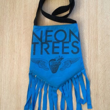 NEON TREES - Upcycled Rock T-Shirt Fringe Purse - ooaK