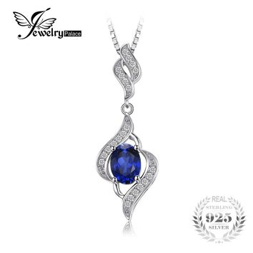 JewelryPalace 1.95ct Created Blue Sapphire Pendant Necklace 925 Sterling Silver Does Not Include a Chain Charm for Women