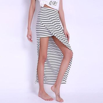 ONETOW Celmia Summer Striped Side Split Long Skirt Women 2017 Sexy Beach Girl Elastic High Waist Maxi Saias Plus Size Strips Skirts