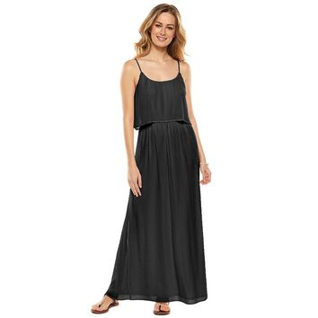 LC Lauren Conrad Pleated Popover Maxi Dress