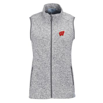 Wisconsin Badgers Women's Summit Fleece Full Zip Sweater Vest – Heather Gray