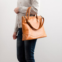Handmade mustard genuine leather tote bag for her