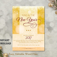 New Years Invitation - New Years Party Invitation - Printable Holiday Party Card - New Years Eve Card - Editable Template - Glitter Gold DIY