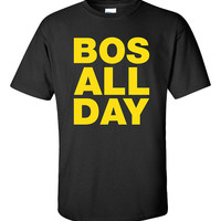 BOS All Day Bean Town Represent Printed T-Shirt Tee Shirt T Mens Ladies Womens Youth Kids Funny Boston Strong Hockey Bruins Proud ML-24