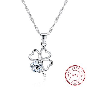 2018 New 925 Sterling Silver Necklace Angel Fashion Love Sweet Lucky Clover Flower Pendant Women Pendants & Necklaces Jewelry