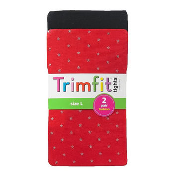 Trimfit Tights Girls 2 Pack Sparkle Tights in Black & Red Size Large NWT