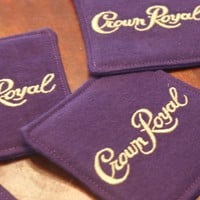 Set of 4 Fabric Crown Royal Coasters