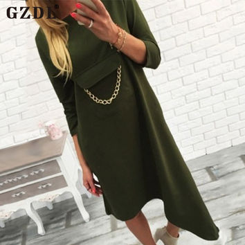 GZDL Ladies Women Dresses 3/4 Sleeve Pocket Asymmetrical Hem Casual Loose Boho Long Pullover Dress Vestidos De Fiesta CL2878