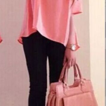 Pink Pullover Loose Shirt