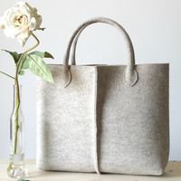 Elegant and Casual wool felt bag from Italy, Tote bag, Market bag, bag for Women. Felt Bag, Felt Tote, Simple Tote bag,