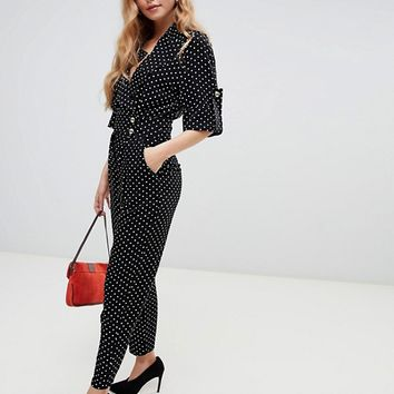 ASOS DESIGN soft tux jumpsuit in ditsy polka dot | ASOS