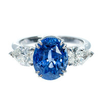 Natural Cornflower Blue Sapphire And Diamond Ring