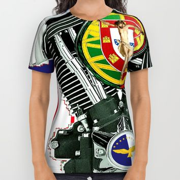 Luso-American Motorcycle Patriot. All Over Print Shirt by Tony Silveira