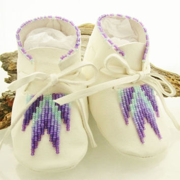 Baby Girl Moccasins Purple Beaded Moccasins Lavender Shoes Soft Soled Shoes  Purple Shoes Turquoise Beadwork Native American Made Baby Gift