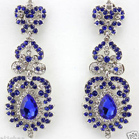 ELEGANT EARRINGS CHANDELIER DROP CRYSTAL DIAMANTE DANGLING EVENING *6 COLOURS