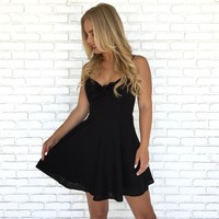 Little Linen Skater Dress in Black
